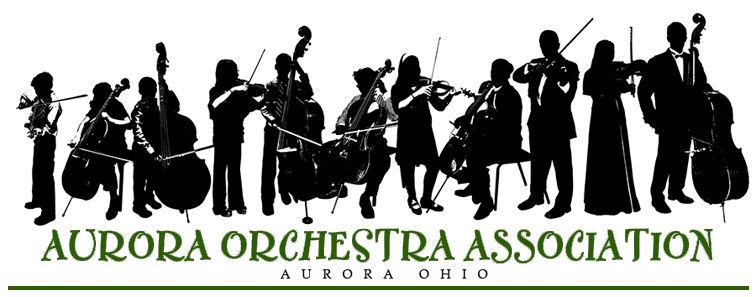 Aurora Orchestra Association Logo with black orchestra