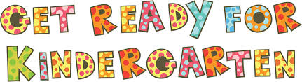 """GET READY FOR KINDERGARTEN"" in Colorful Block Letters with colored dots inside letters"