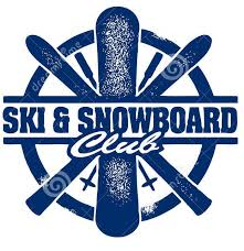Ski & Snowboard Club in Blue Horizontal Over White Background with Snowboard Vertical and Skis and Poles Diagonal Behind Snowboard