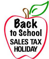 Back to school sales tax holiday in red apple