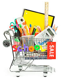 Cart with school supplies with sale on the side