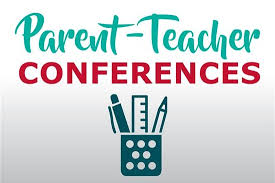 Parent Teacher Conferences in Teal and Red Color with Blue Cup Holding Pen, Pencil, Ruler
