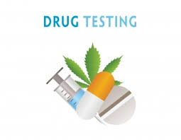 Drug Testing Wording with drawings of various drug types