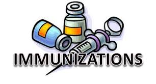 "Word ""Immunizations""  in Black with Two Clipart Medical Bottles and a Syringe in Purple, Yellow and Blue Tints"