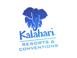 Kalahari Resort logo with blue elephant above and name in blue below