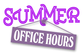 Summer Office Hours hanging from thumbtack