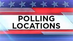 Polling locations black words with red and blue stars and stripes above and below