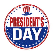 President's Day with red, white and blue hats and stars in circle