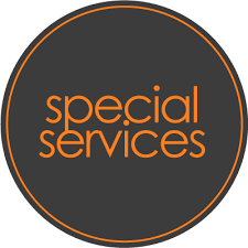 Grey Circle with Special Services in Orange