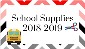 School Supplies 2018 - 2019 with a school bus and scissors inside a red and grey border