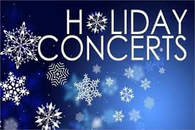 Holiday Concerts in White on Blue Background with White Falling Snowflakes