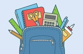 Blue clipart backpack with school supplies coming out of opened top
