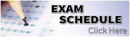 Exam Schedule Click Here Wording with Pencil and Exam Image