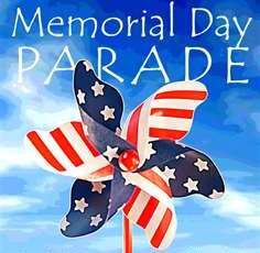Memorial Day Parade with red, white and blue pinwheel
